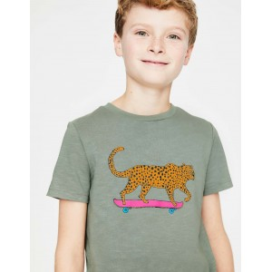 Animal Graphic T-Shirt - Pottery Green Cool Leopard