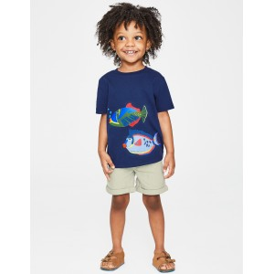 Animal Applique T-Shirt - College Blue Fish