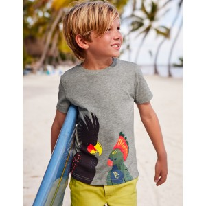 Animal Applique T-Shirt - Grey Marl Birds