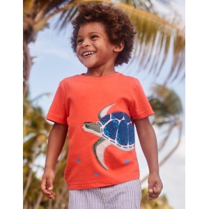 Animal Applique T-Shirt - Tropical Coral Orange Turtle