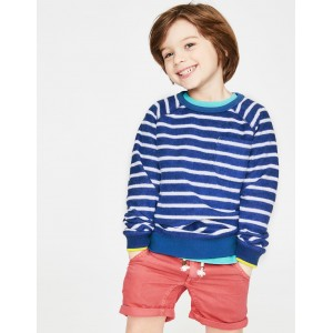 Towelling Sweatshirt - Blue Wave/White