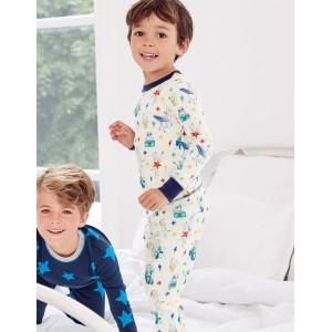 Twin Pack Long Pajamas - Ivory Music Animals