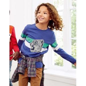 Wild Applique T-Shirt - Starboard Blue Snow Leopard