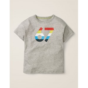 Graphic Print T-Shirt - Grey Marl