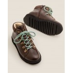 Leather Chunky Boots - Chocolate