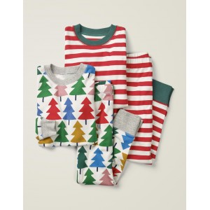 Twin Pack Long Pajamas - Rainbow Christmas Tree