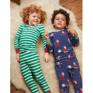 Twin Pack Long Pajamas - Starboard Blue Santa