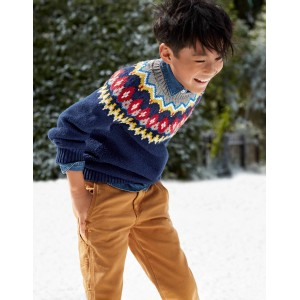 Chunky Festive Crew Sweater - Starboard Blue