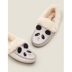 Cosy Suede Panda Slippers - Neutral Sparkle