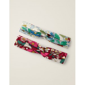 2 Pack Woven Headbands - Bramble Red Florabunda