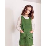 Pocket Cord Pinafore Dress - Willow Green