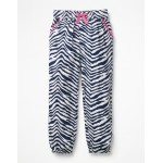 Relaxed Woven Pants - College Blue Zebra
