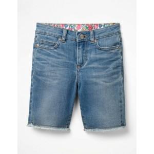 Long Denim Shorts - Mid Wash Denim