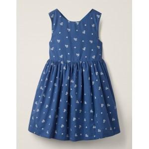 Cross-Back Printed Dress - Indigo Blue Floral
