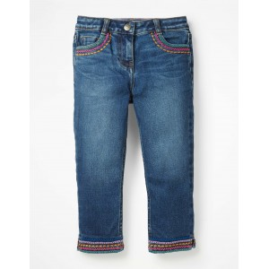 Embroidered Hem Capri Pants - Mid Vintage Denim