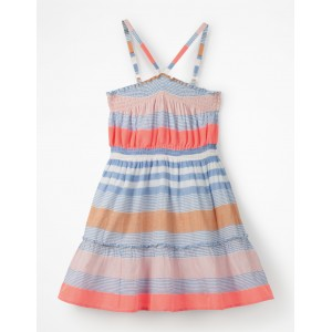 Strappy Smocked Midi Dress - Blue Multistripe
