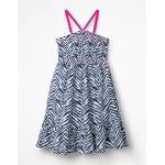 Strappy Smocked Midi Dress - College Blue Zebra