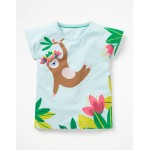 Sparkly Animal T-Shirt - Pale Blue Sloth