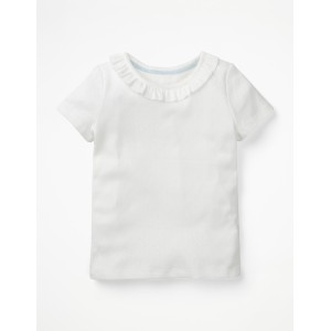 Ruffle Neck Pointelle T-Shirt - White