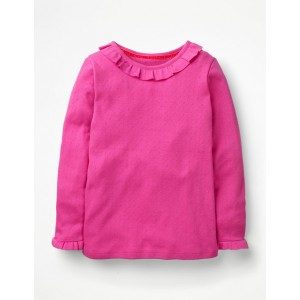 Ruffle Pointelle Top - Tickled Pink