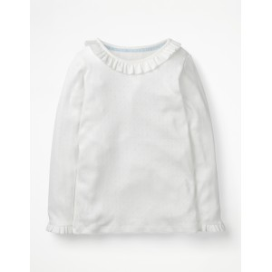 Ruffle Pointelle Top - White
