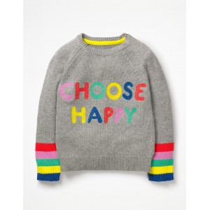 Happy Days Sweater - Grey Marl Happy