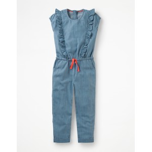 Frilly Woven Jumpsuit - Indigo Chambray