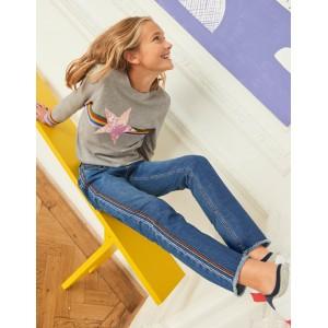 Girlfriend Jeans - Mid Vintage/Rainbow Stripe