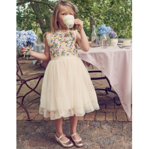 Embroidered Floaty Dress - Calico Cream