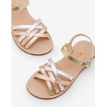 Leather Strappy Sandals - Gold Metallic