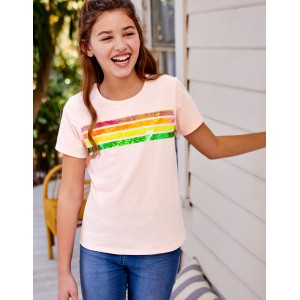 Sequin-Change T-Shirt - Parisian Pink Rainbow Stripe