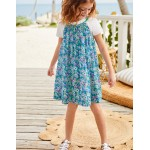 T-Shirt And Printed Dress Set - Sea Breeze Blue Forget-Me-Not
