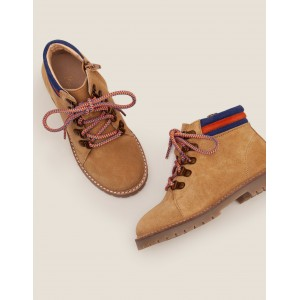Suede Stripy Boots - Light Tan