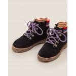 Suede Stripy Boots - Navy Blue