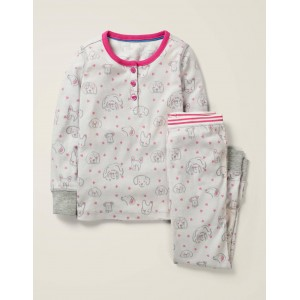 Henley Pajama Set - Grey Marl Love Dogs
