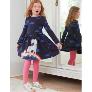 Printed Applique Dress - Navy Love Clouds Unicorns