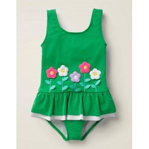 Novelty Applique Swimsuit - Shamrock Green Flowers