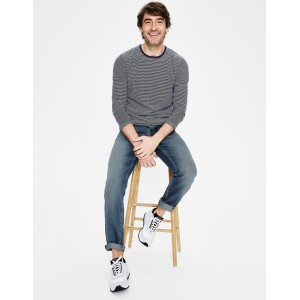 Straight Leg Jeans - Heavy Wash Denim