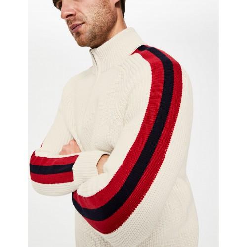 보덴 Islington Half-Zip - Ecru Stripe