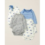 3 Pack Whales Bodysuits - Ivory Baby Whales
