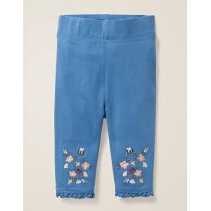 Floral Embroidered Leggings - Elizabethan Blue Floral