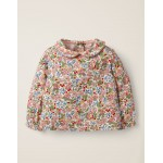 Printed Collar T-Shirt - Chalky Pink Flower Berry