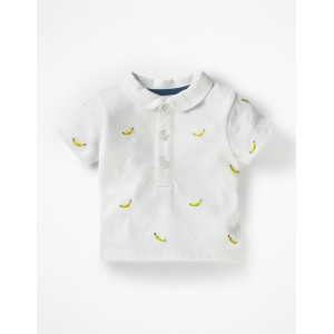 Embroidered Polo T-Shirt - White Monkey Embroidery