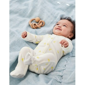 Printed Ducks Sleepsuit - Yellow Baby Ducks