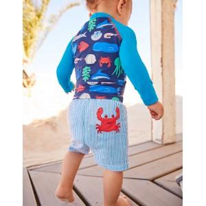 Fun Pocket Swim Trunks - Caspian Blue Ticking Crab