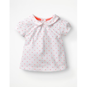 Broderie Collar T-Shirt - White and Bright Flamingo Spot