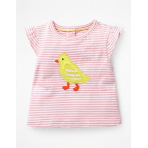 Summer Applique T-Shirt - White/Shell Pink Chick
