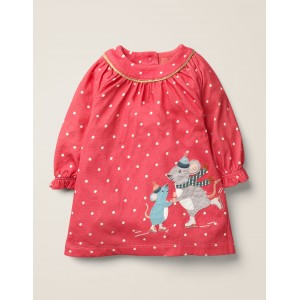 Big Applique Jersey Dress - Rose Petal Red Mice