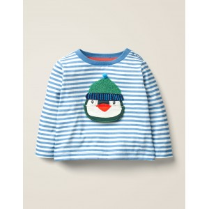 Novelty Lift-The-Flap T-Shirt - Elizabethan Blue/Ivory Penguin