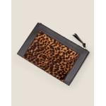 Large Leather Keepsake Pouch - Tan Leopard/Black